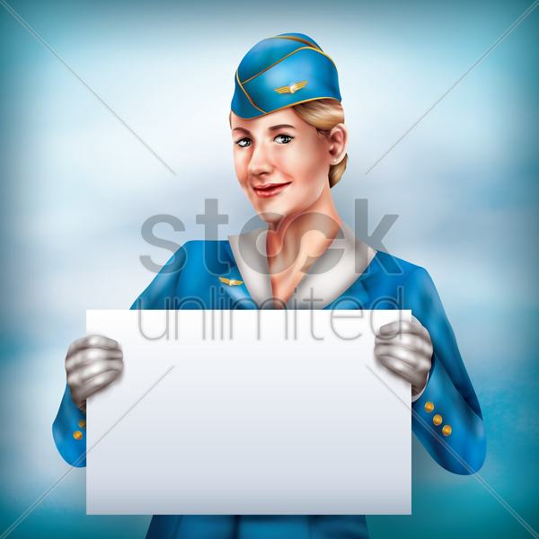 air hostess holding placard vector graphic