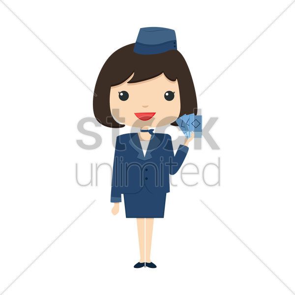 air hostess holding tickets vector graphic