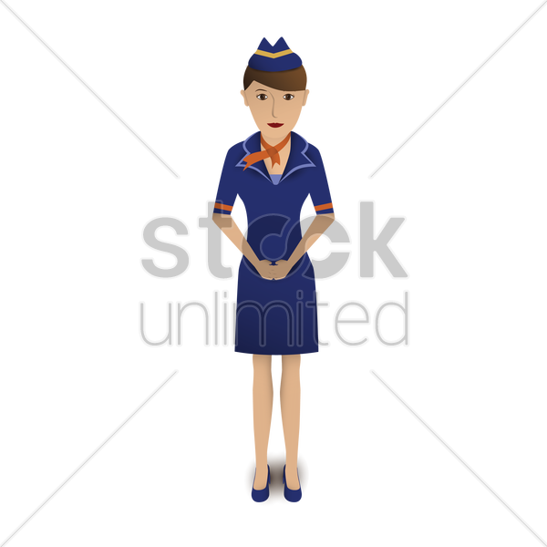 air hostess standing vector graphic