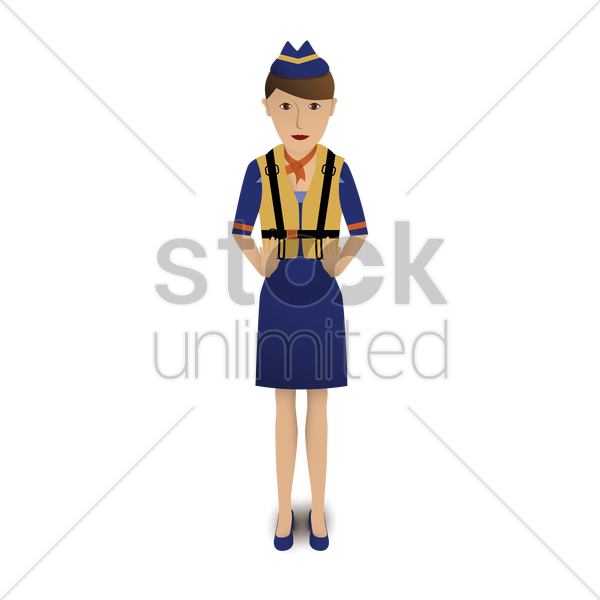 air hostess wearing life jacket vector graphic