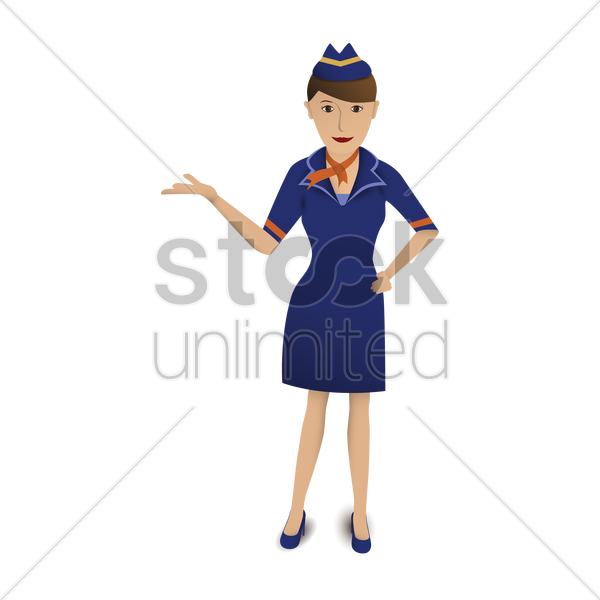 air hostess welcoming vector graphic