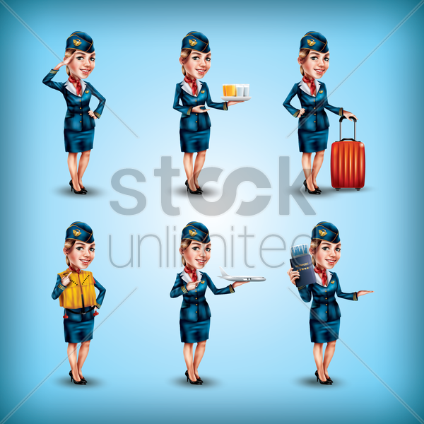 air hostess with different activities set vector graphic