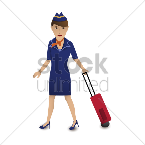 air hostess with her luggage vector graphic