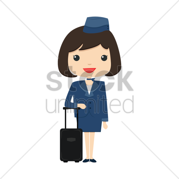 air hostess with suitcase vector graphic