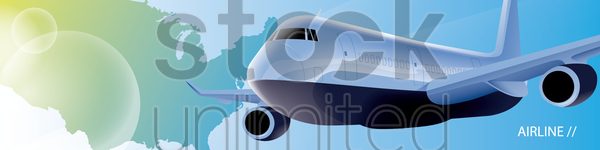 airline banner vector graphic