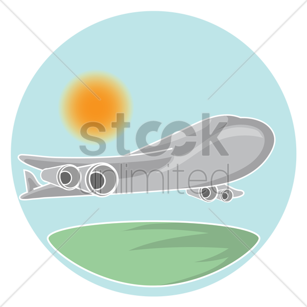 airplane in the sky vector graphic