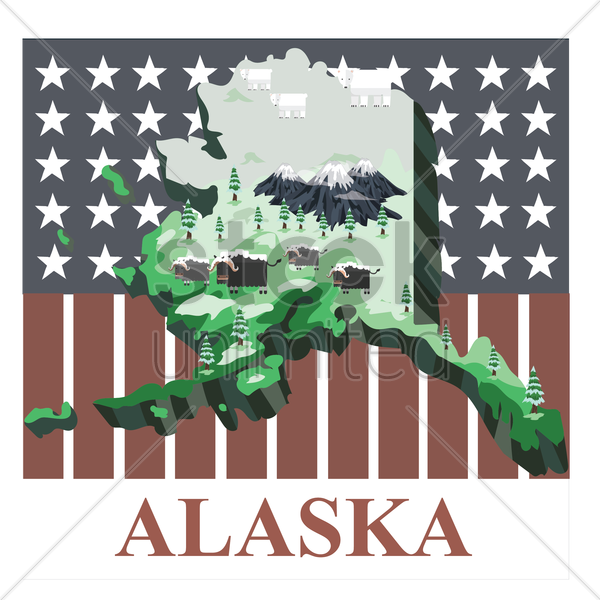 alaska state map vector graphic
