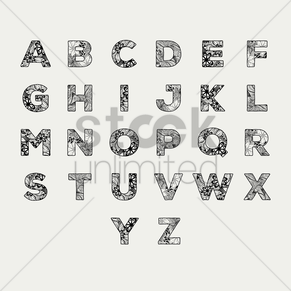 alphabet set in decorative style vector graphic