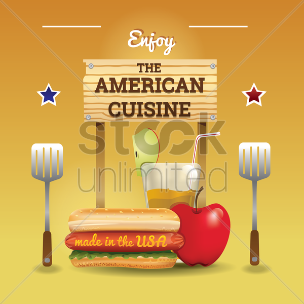 american cuisine wallpaper vector graphic