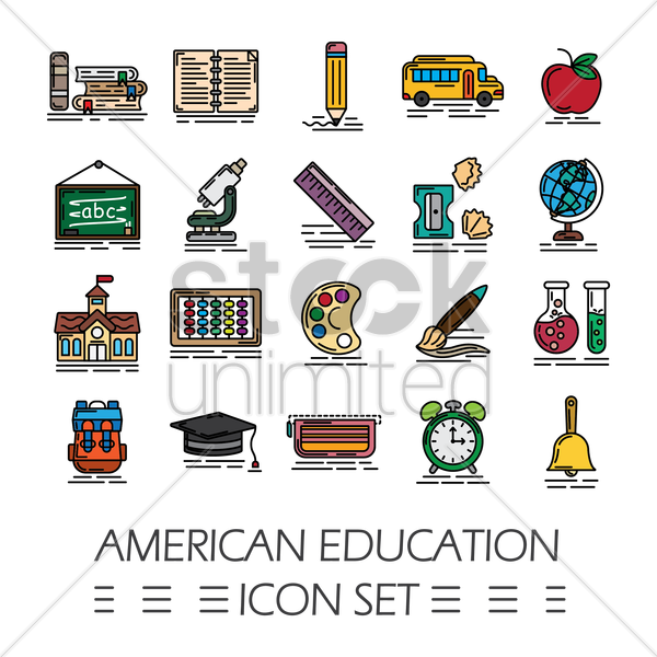 american education icon set vector graphic