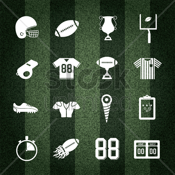 Free american football collection on striped background vector graphic