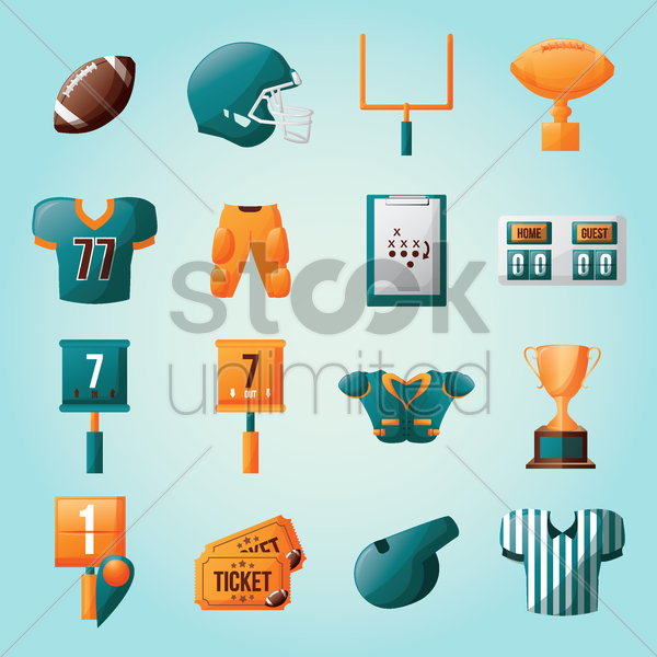 american football collection vector graphic