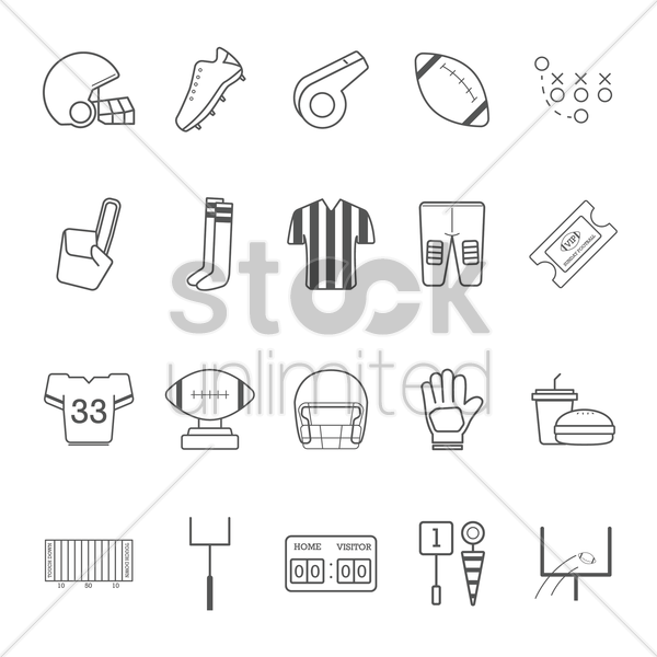 american football icons collection vector graphic