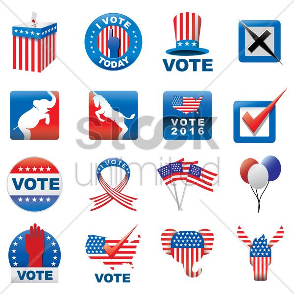 american presidential election icons vector graphic
