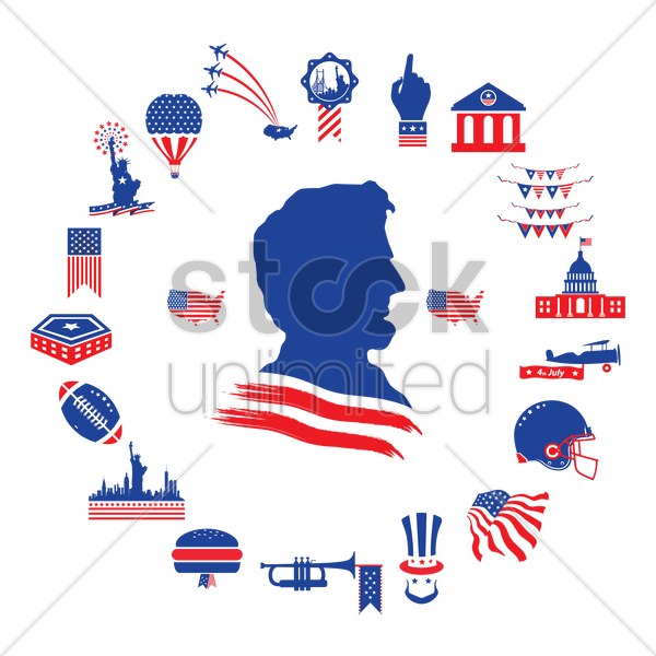 american themed icons vector graphic