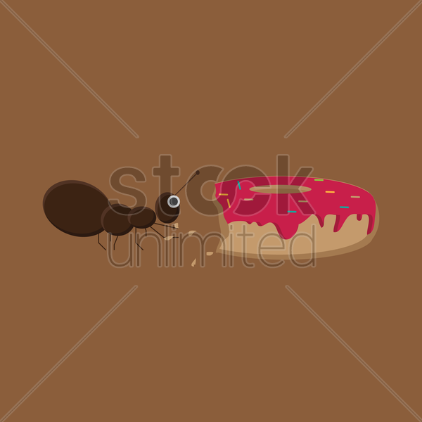 an ant eating a doughnut vector graphic