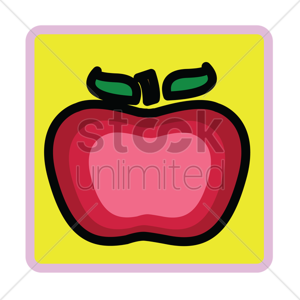 Free an apple over yellow background vector graphic