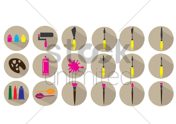 an artist's tools vector graphic