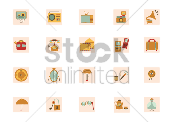 an collection of vintage items vector graphic