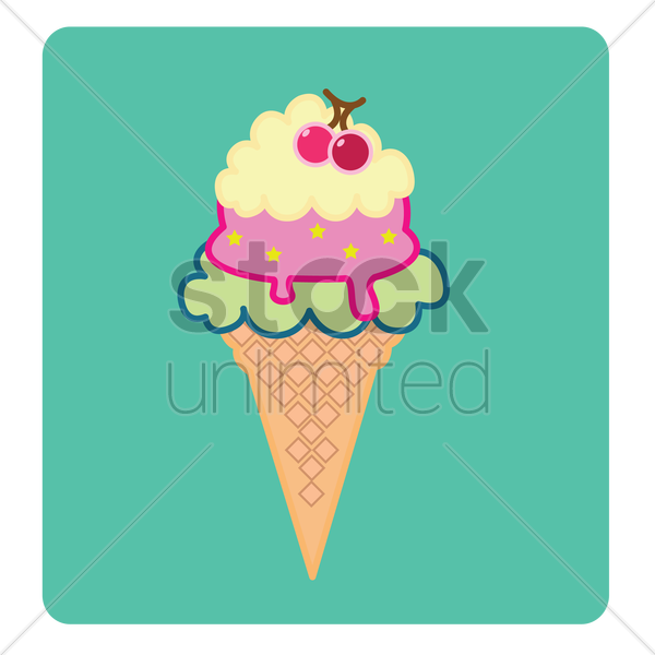 an ice-cream cone over green background vector graphic