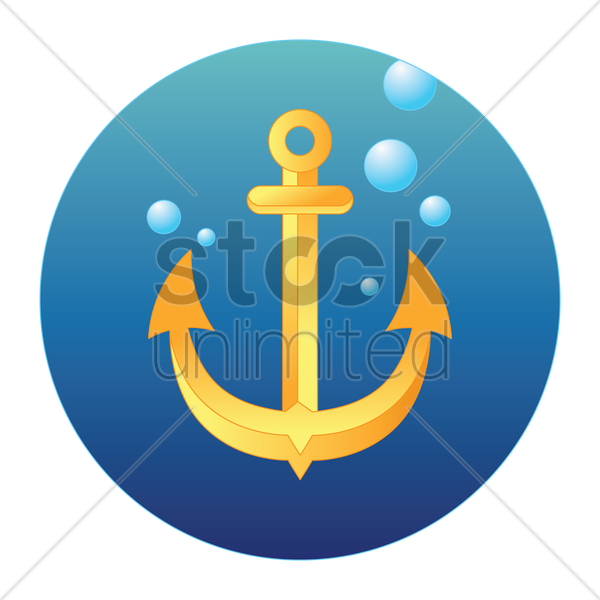 anchor in water vector graphic