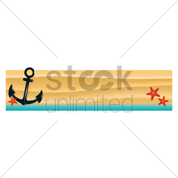 anchor on beach banner vector graphic
