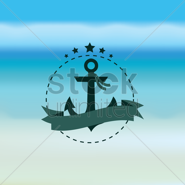 anchor with banner vector graphic