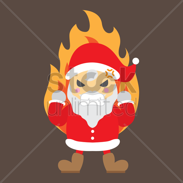 angry santa claus vector graphic