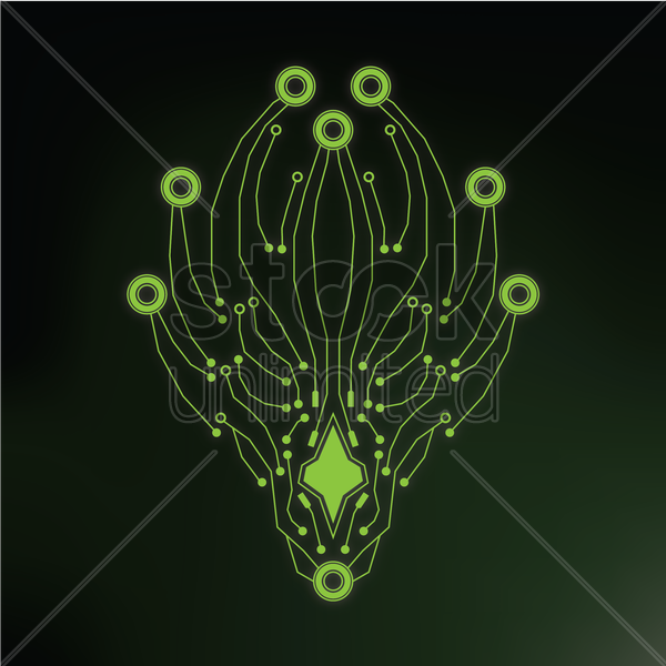 animal head shape circuit vector graphic