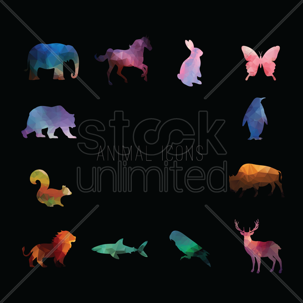 animal icons vector graphic