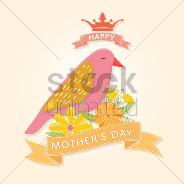 animal theme mothers day card vector graphic