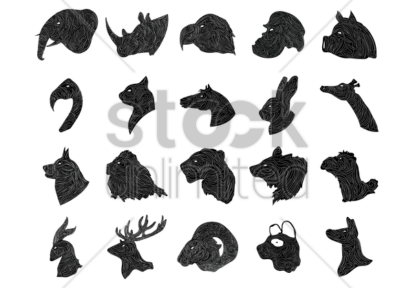animals and birds silhouette vector graphic