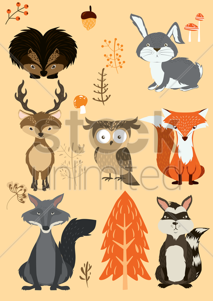 animals and trees set vector graphic