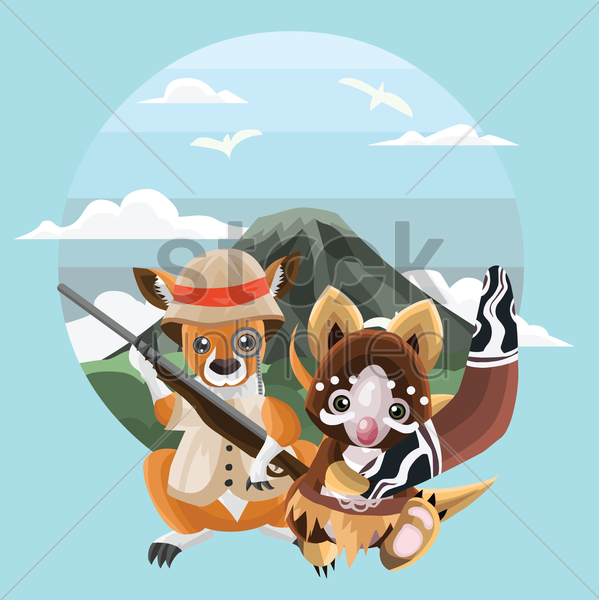 animals at mountain landscape vector graphic