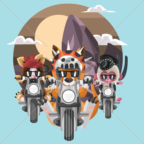 animals bike riding vector graphic