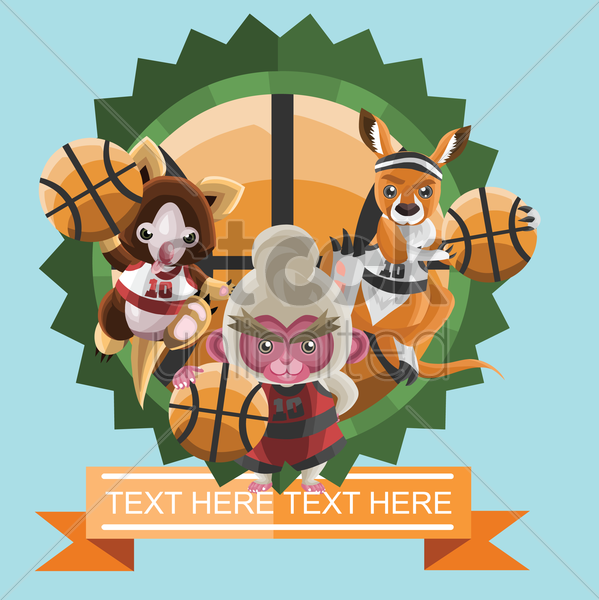 animals holding basket ball vector graphic