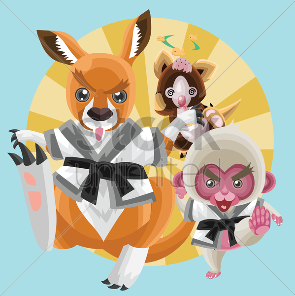 animals in karate outfit vector graphic