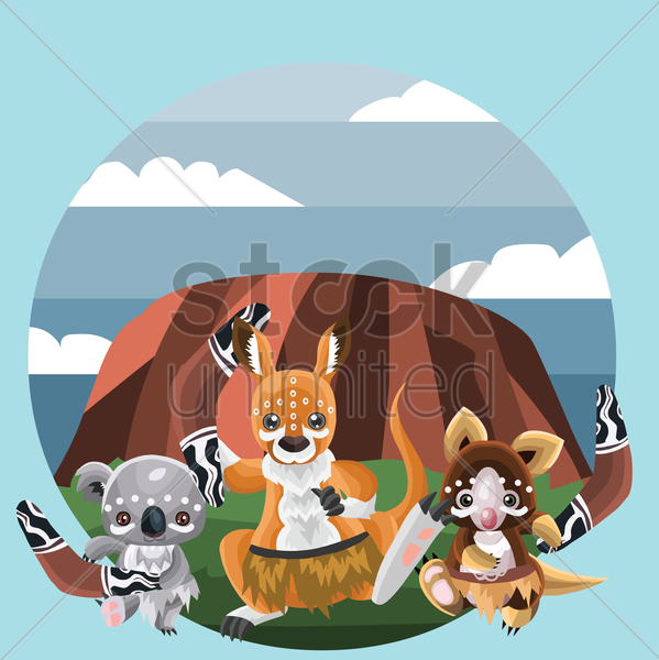animals in tribal style vector graphic