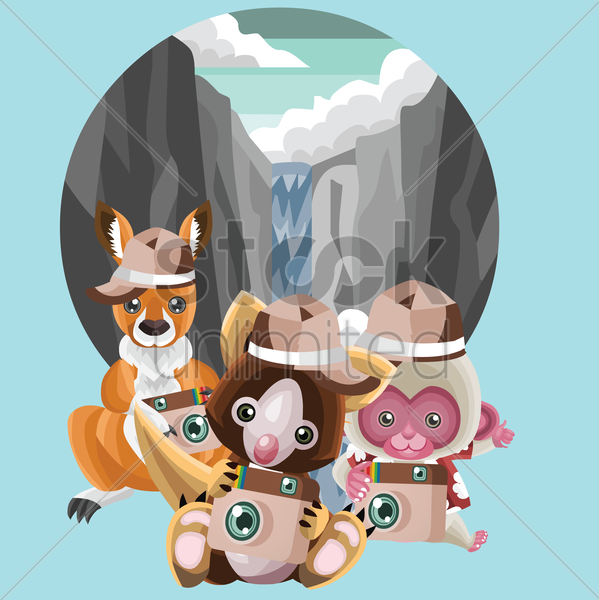 animals went for an adventure vector graphic