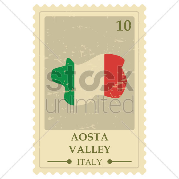 aosta valley map postage stamp vector graphic