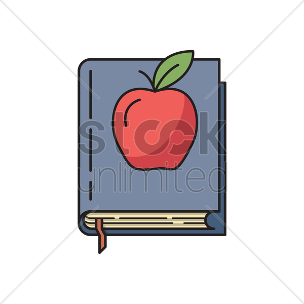 apple and book icon vector graphic