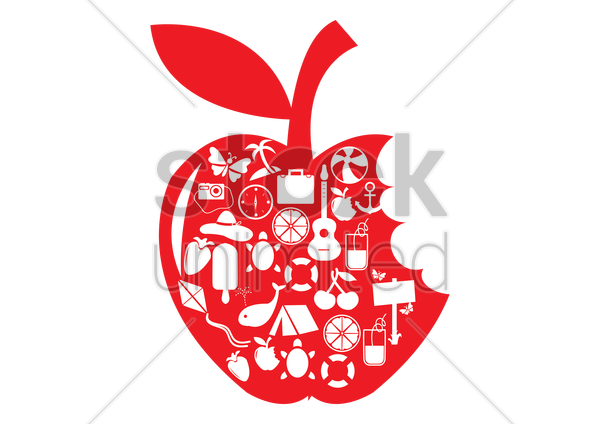 apple shape with summer icons vector graphic