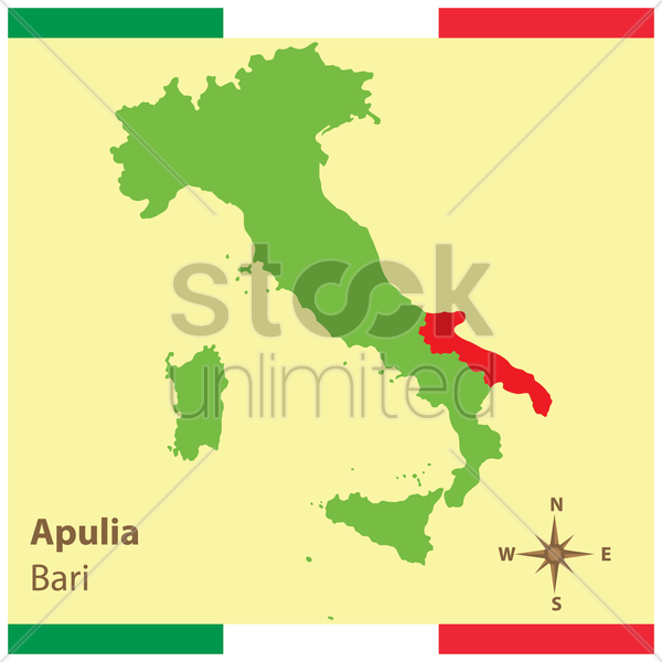 apulia on italy map vector graphic