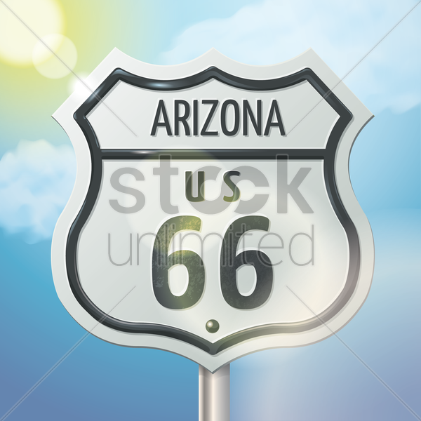 arizona 66 route sign vector graphic