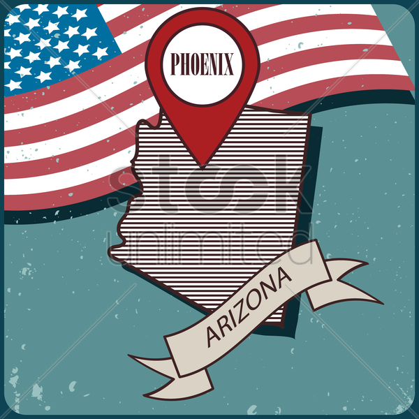 arizona map label vector graphic