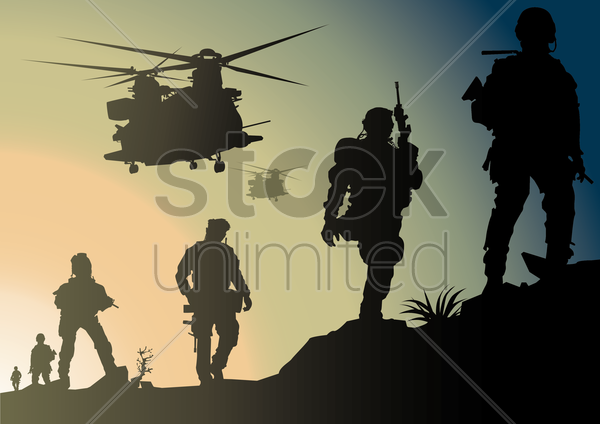 army in battlefield vector graphic