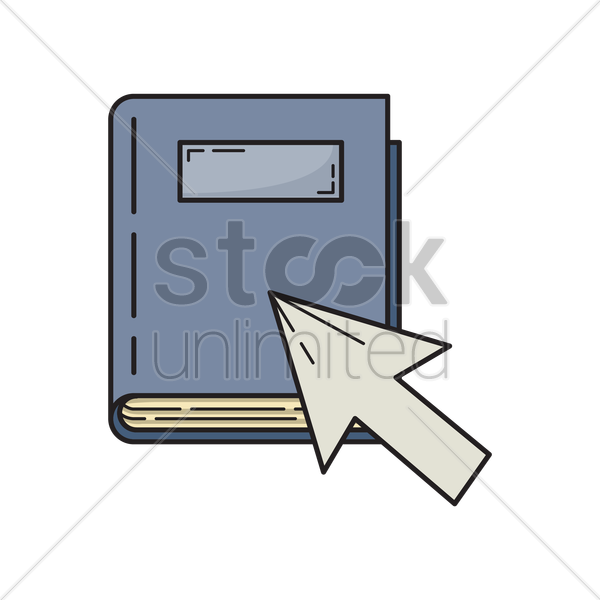 arrow pointing on book vector graphic