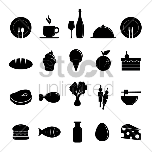 assorted food and drink icons vector graphic