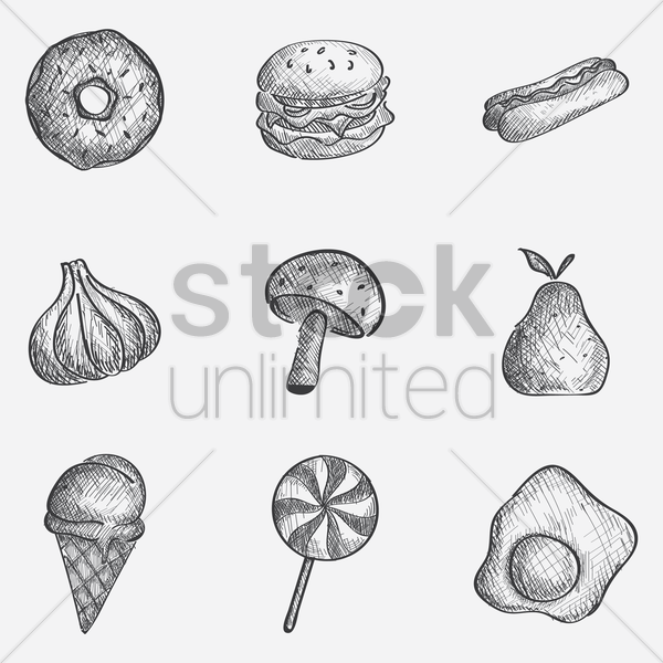 assorted food icon set vector graphic