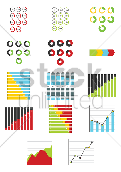 assorted infographics vector graphic